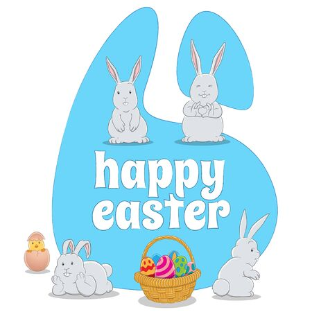 Illustration of Blue Happy Easter Background with 4 Bunnies a Chick and Eggs Basket isolated on a white background