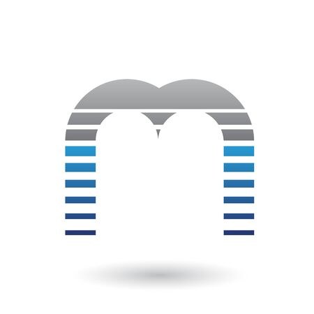 Illustration of a Black and Blue Letter M Icon with Horizontal Stripes isolated on a White Background 스톡 콘텐츠