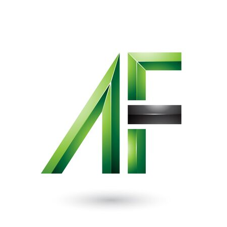Illustration of Green and Black Glossy Dual Letters of A and F isolated on a White Background