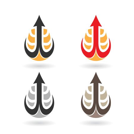 Illustration of Colorful Water Drops and Earring Shapes isolated on a white background