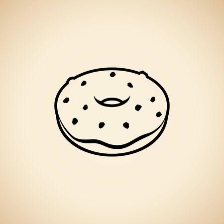 Illustration of Black Doughnut Icon isolated on a Beige Background Imagens