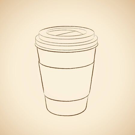 Illustration of Charcoal Drawing of a Paper Coffee Cup Icon on a Beige Background