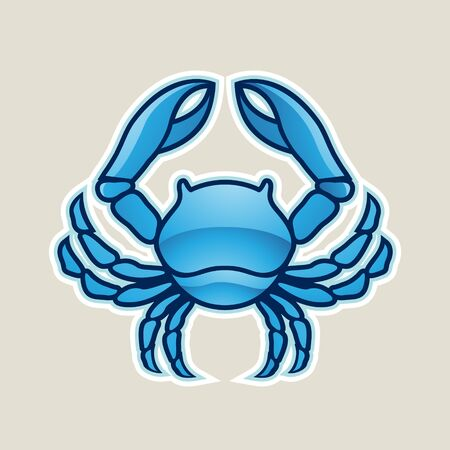 Illustration of Blue Glossy Crab or Cancer Icon isolated on a White Background Stock Photo