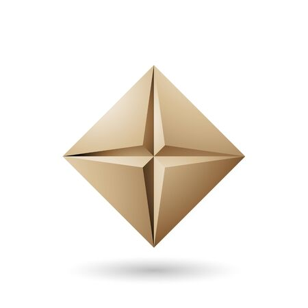 Illustration of Beige Diamond Icon with a Star Shape isolated on a white background