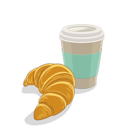 Illustration of Croissant and Paper Coffee Cup Breakfast isolated on a white background