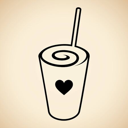 Illustration of Black Swirly Milkshake with a Heart Icon isolated on a Beige Background 版權商用圖片