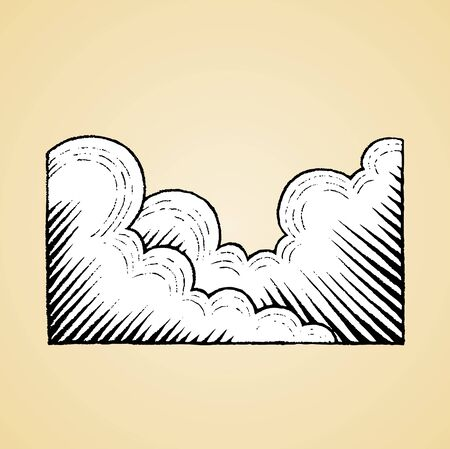 Illustration of a Scratchboard Style Ink Drawing of Clouds with White Fill Reklamní fotografie