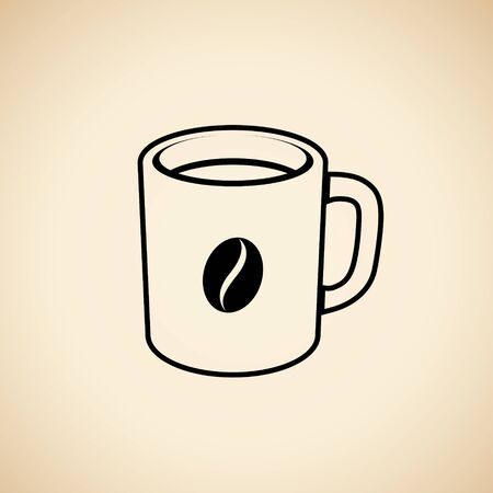 Illustration of Black Coffee Mug with a Coffee Bean Icon isolated on a Beige Background 版權商用圖片