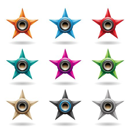 Illustration of Embossed Stars with Grey Round Loudspeaker Shapes isolated on a White Background Stock Photo