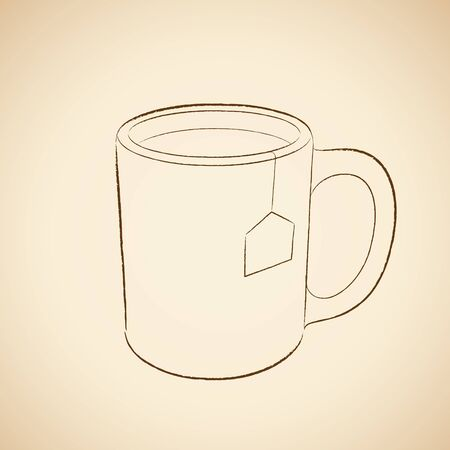 Illustration of Charcoal Drawing of a Coffee Mug Icon on a Beige Background Imagens