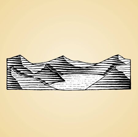 Illustration of a Scratchboard Style Ink Drawing of a Mountain Lake with White Fill Reklamní fotografie