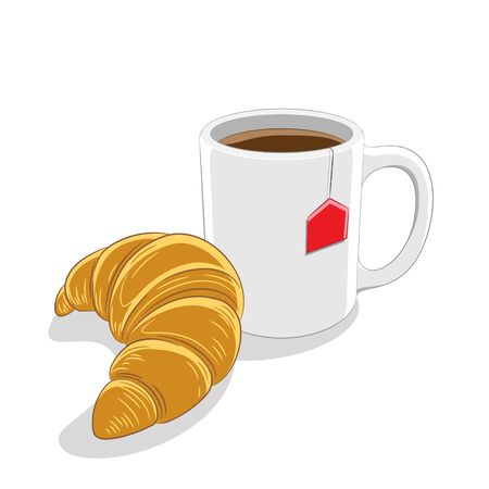 Illustration of Croissant and Coffee Mug Breakfast isolated on a white background Imagens