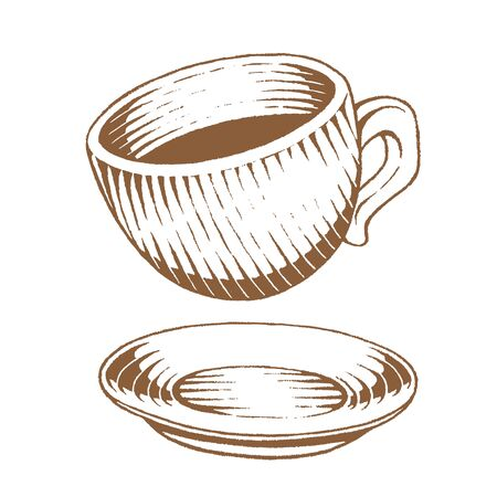 Illustration of Brown Ink Sketch of Coffee Cup isolated on a White Background
