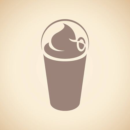 Illustration of Brown Milkshake with a Lid Icon isolated on a Beige Background 版權商用圖片