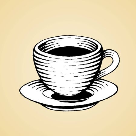Illustration of a Scratchboard Style Ink Drawing of a Coffee Cup with White Fill