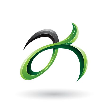 Illustration of Green and Black Curly Fish Tail Like Letters A and K isolated on a White Background