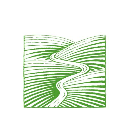 Illustration of Green Ink Sketch of Hills and River isolated on a White Background Reklamní fotografie