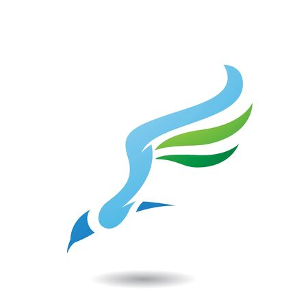 Design Concept of Long Wing Bird Icon, Vector Illustration Isolated on a White Background