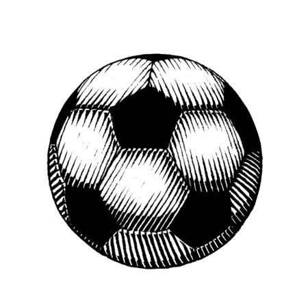 Illustration of a Scratchboard Style Ink Drawing of a Soccer and Football Ball