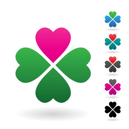 Illustration of Abstract Heart Shaped Four Leaf Clover isolated on a white background 写真素材 - 129974023