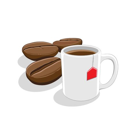 Illustration of Coffee Beans and Coffee Mug Breakfast isolated on a white background