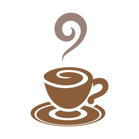 Illustration of Brown Coffee Cup Icon isolated on a White Background