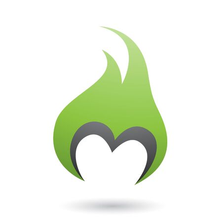 Illustration of Green Letter M Shaped Fire Icon isolated on a White Background