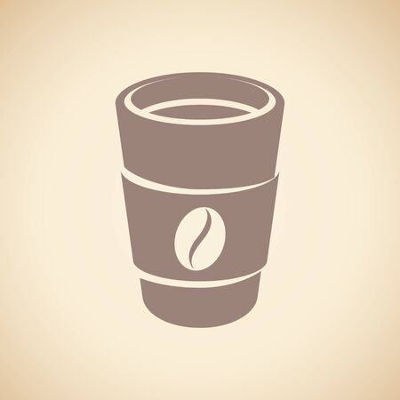 Illustration of Brown Paper Coffee or Tea Cup Icon isolated on a Beige Background