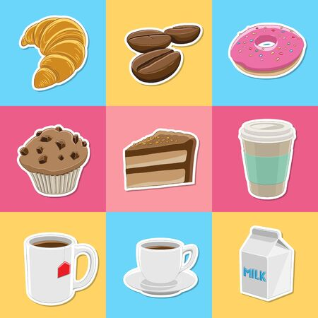 Illustration of Coffee and Breakfast Sticker Icons on Colorful Backgrounds