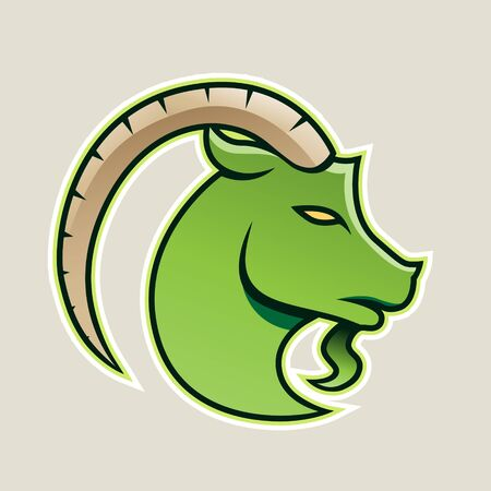 Illustration of Green Goat wıth a Long Horn Icon isolated on a White Background