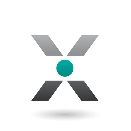 Illustration of a Grey Icon of Letter X with a Circle isolated on a White Background