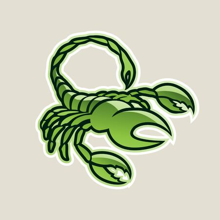 Illustration of Green Glossy Scorpion Icon isolated on a White Background
