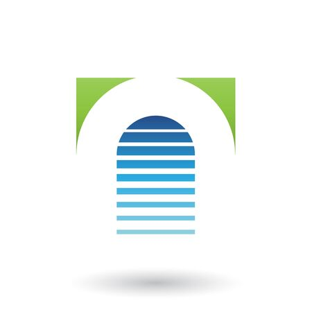 Illustration of Green and Blue Reversed U Icon for Letter A isolated on a White Background