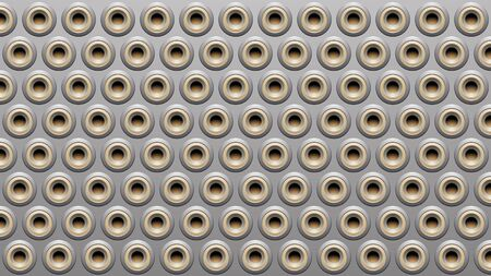 Illustration of Grey and Beige Embossed Round Loudspeaker Background Stockfoto - 129972865