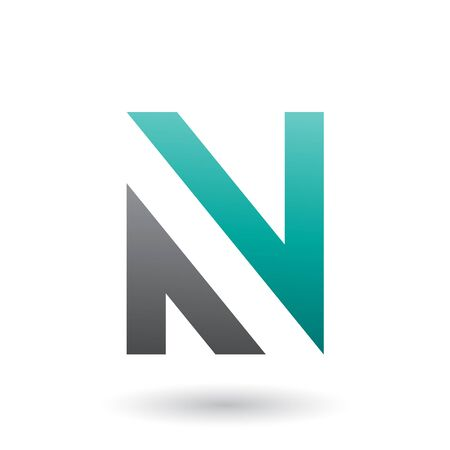 Illustration of Green and Black V Shaped Icon for Letter N isolated on a White Background