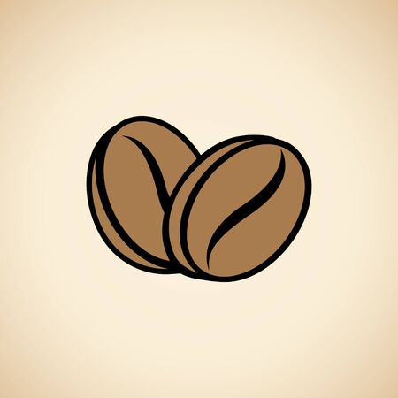 Illustration of Coffee Beans Icon isolated on a Beige Background
