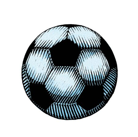 Illustration of a Scratchboard Style Ink and Watercolor Drawing of a Soccer and Football Ball