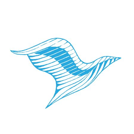 Illustration of Blue Ink Sketch of Eagle isolated on a White Background Stock Photo