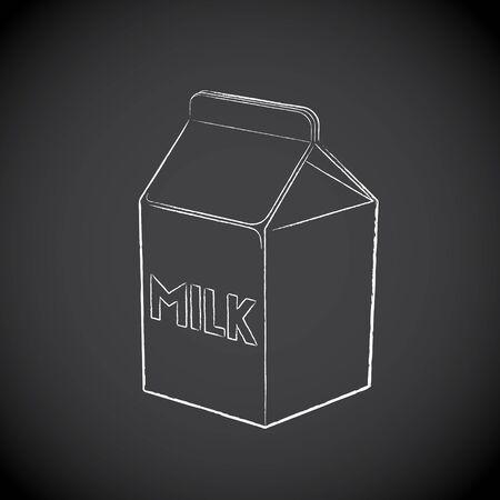 Illustration of Chalkboard Drawing of Milk Box Icon on a Blackboard