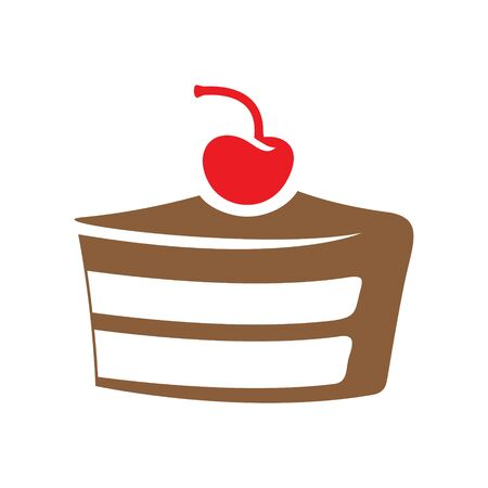 Illustration of Brown Cake Icon isolated on a White Background