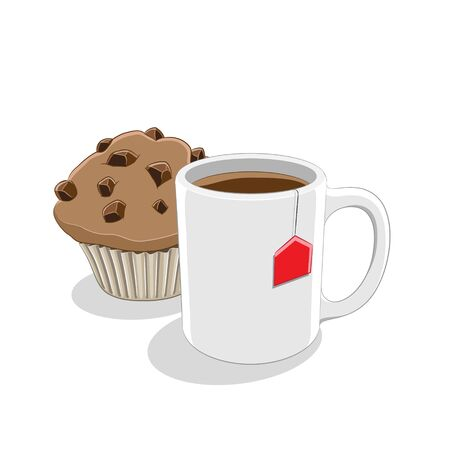 Illustration of Coffee Mug and Muffin Breakfast isolated on a white background