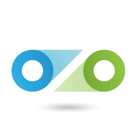 Illustration of Blue and Green Double Letter O isolated on a White Background Stockfoto - 129973430