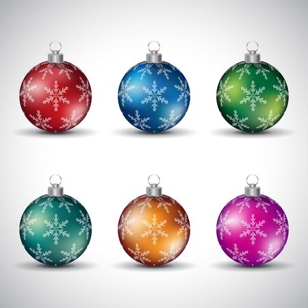 Illustration of Colorful Glossy Christmas Balls with Snowflake Design - Style 7 isolated on a White Background