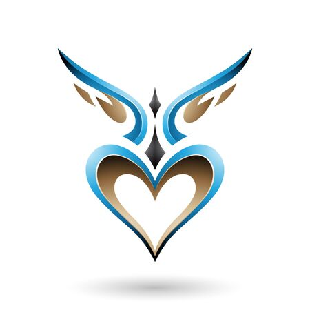 Illustration of Blue Bird Like Winged Heart with a Shadow isolated on a white background