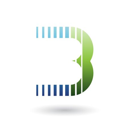 Illustration of a Blue and Green Letter B Icon with Vertical Stripes isolated on a White Background
