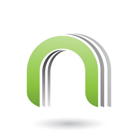 Illustration of a Green Layered Icon for Letter N isolated on a White Background