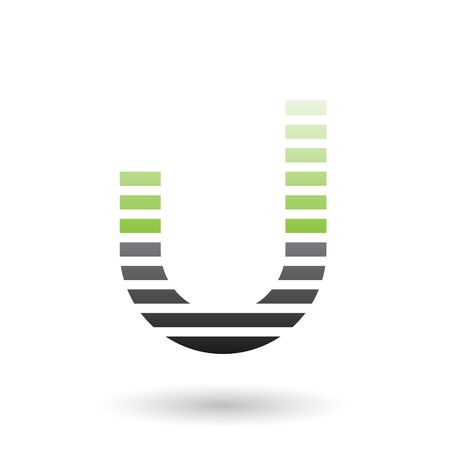 Illustration of Green and Black Letter U Icon with Horizontal Thin Stripes isolated on a White Background Stok Fotoğraf