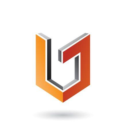 Illustration of Grey and Orange Shield Like 3d Shape isolated on a White Background
