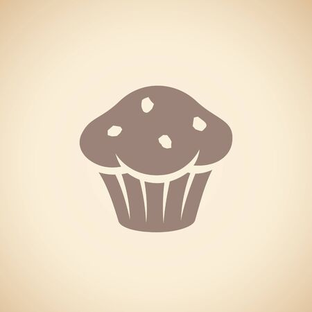 Illustration of Brown Muffin Icon isolated on a Beige Background