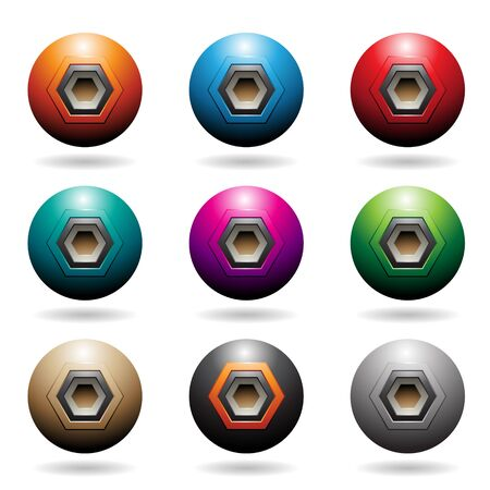 Illustration of Colorful Embossed Sphere Loudspeaker Icons with Hexagon Shapes isolated on a white background